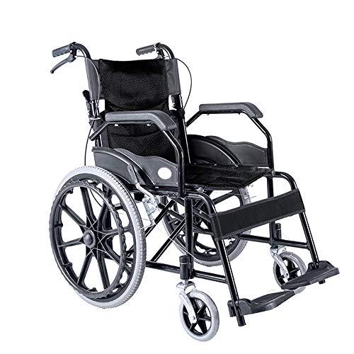 ZXWNB Kleiner Tragbarer Reise-Rollstuhl, Leichtklapp Carbon Steel Inflatable Manueller Rollstuhl,Schwarz