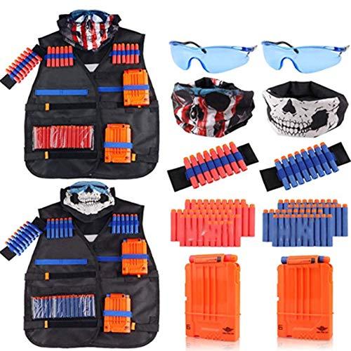 Niños Negro Táctico Chaqueta Traje Chaleco Kit Soporte Soporte Pistola Bullet Toy Dart Clip Play Al Aire Libre Juguete Regalo 2 Paquete