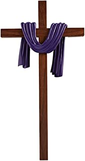 James Brennan Lenten Antique Purple Robe Wood Cross, 10 Inch
