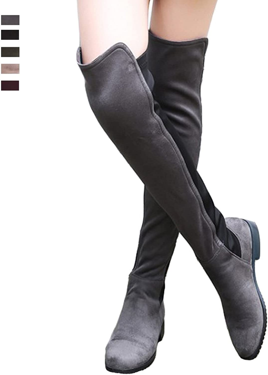 Seacat Women Suede Over The Knee High Thigh Low Flat Heel Stretch Boots