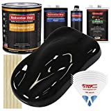 Restoration Shop - Jet Black Urethane Basecoat with Clearcoat Auto Paint - Complete Medium Gallon Paint Kit - Professional High Gloss Automotive, Car, Truck Refinish Coating