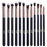 MSQ® - Juego de 15 brochas de maquillaje profesionales para maquillaje en polvo, diseño oro rosa, cepillos de maquillaje de pelo sintético y de animales con funda de piel sintética
