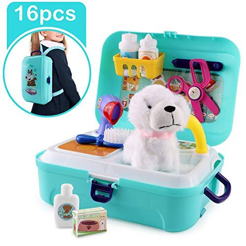 Satkago Maletín Veterinaria Perritos de medicos Juguetes, 16 pcs Dog Puppy Grooming Toys Kit de Juego de simulación Playset con Mochila Estuche de Juguete para niños pequeños Niños