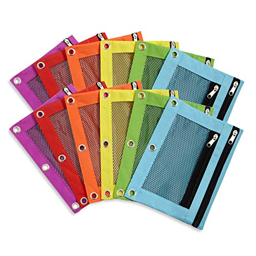 Blue Summit Supplies Pencil Pouches, Bulk Pencil Pouch 12 Pack in Assorted Colors for Storing School Supplies, Writing Utensils, and More, Cloth Zipper Pouches for 3 Ring Binders, 12 Count