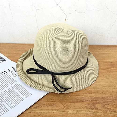 Sombrero de paja retro literario europeo y americano, sombrero de paja con cuerda atada salvaje informal, visera para el sol con rollo de domo femenino, protector solar de viaje-Beige_adjustable