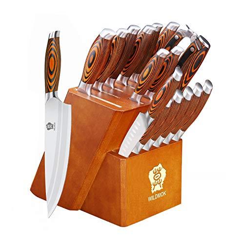 WILDMOK Juego de 17 cuchillos con bloque de madera y mango de madera, cuchillo de cocina de acero inoxidable, cuchillo de chef, tijeras de carne, tijeras de cocina y barra de acero, (17 piezas)