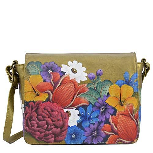 Anuschka Women's Genuine Leather Medium Flap Crossbody Handbag - Hand Painted Exterior - Dreamy Floral