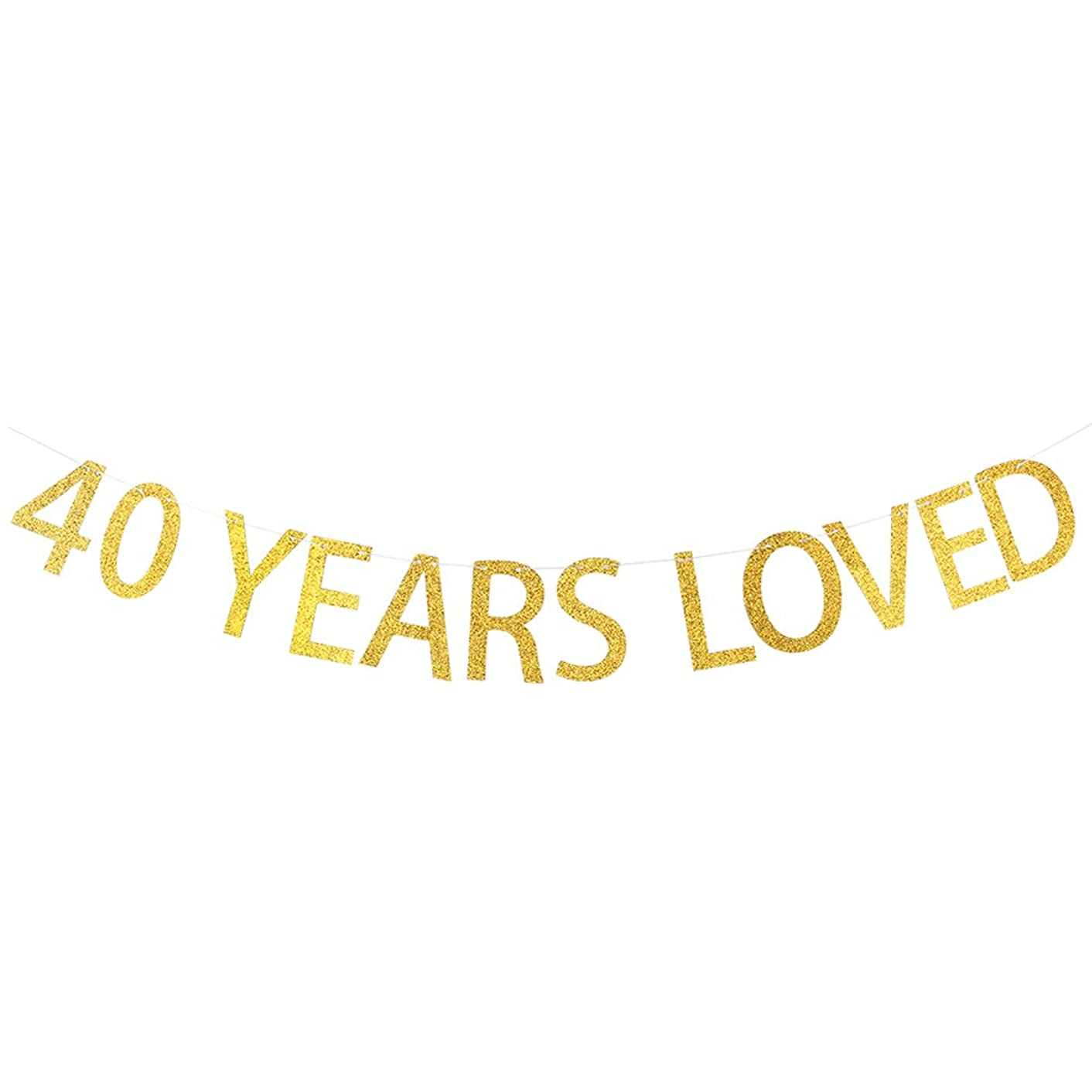 40 YEARS LOVED Gold Glitter Banner for 40th Birthday, Wedding Anniversary Party Bunting Photo Props Decorations