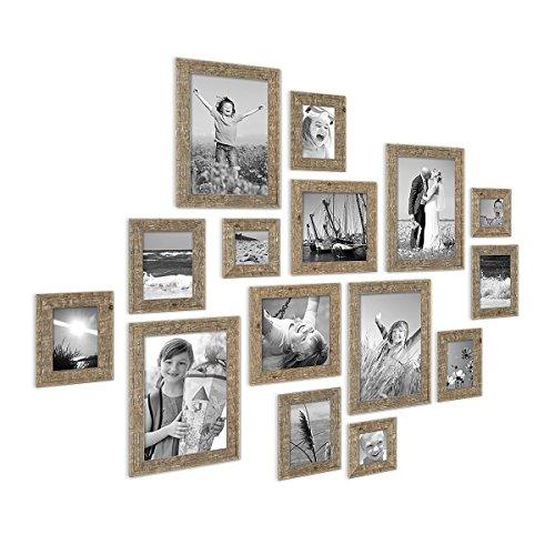 PHOTOLINI 15er Bilderrahmen-Set Strandhaus Rustikal Eiche-Optik Natur Massivholz 10x10 bis 20x30 cm inklusive Zubehör zur Gestaltung Einer Collage/Bildergalerie