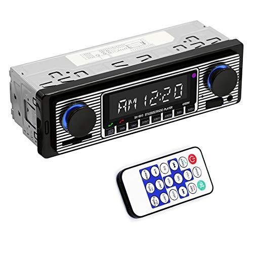 Yolispa - Autoradio Bluetooth per auto con porta USB/SD/AUX, 4 x 60 W, radio FM da auto, lettore MP3 digitale, chiamate in vivavoce con telecomando