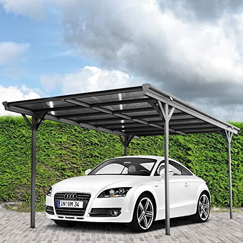 HORI® Carport Überdachung freistehend Einzelcarport Unterstand I Pultdach 503 x 305 x 232 cm / 87 kg