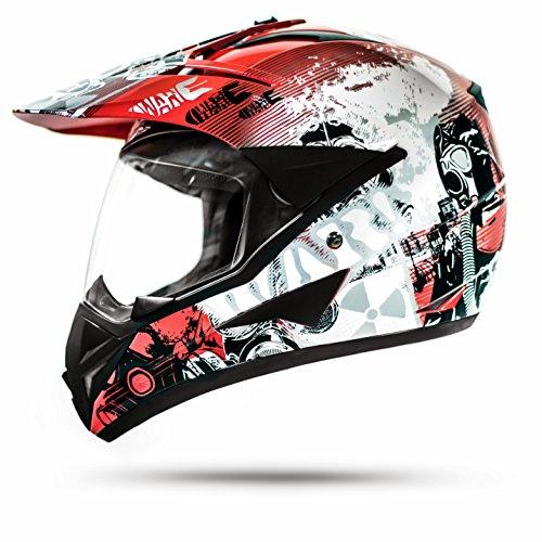 Stark ATO GS War Rot Crosshelm mit Visier für Quad ATV Enduro Motorradhelm ECE 2205 Größe: M 57-58cm