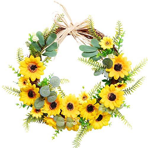 YQing 30cm Künstlich Sonnenblume Kranz Deko, Gelber Blumenkranz Kranz Haustür Sonnenblume Kranz Sommer mit Grüne Eukalyptusblätte für die Haustür Innenwandhochzeit Home Decor