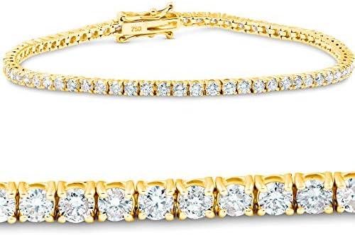 3 Ct. Diamond 18K Yellow Gold Round Cut Tennis Bracelet 7″