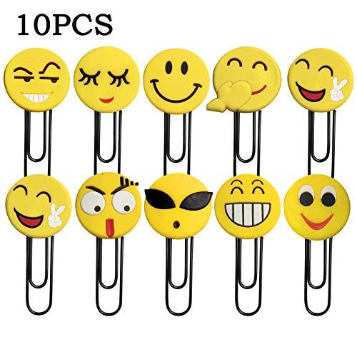 YLX Simpatici Segnalibri a forma di emoticon, divertenti segnalibro, per bambini, ragazze, ragazzi, scuola (10 pezzi casuali)