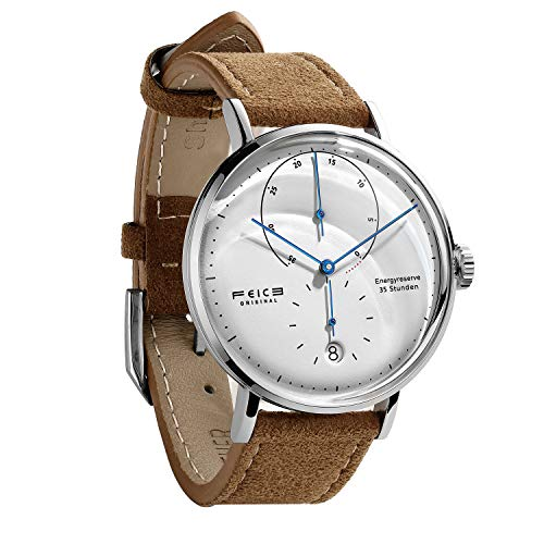 FEICE Men's Automatic Watch Classic Bauhaus Watch Minimalist White Dial Mechanical Watch Energy Reserve Dress Watches for Men with Domed Crystal -FM202 (Brown)