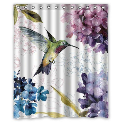ZHANZZK Hummingbird Watercolor Painting Waterproof Bathroom Shower Curtain 60x72 Inches
