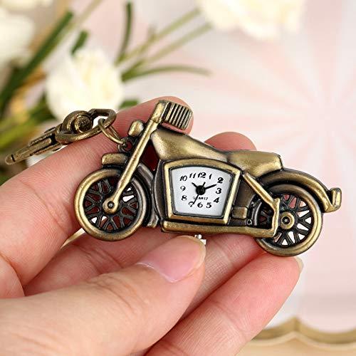 CAIDAI&YL Reloj de bolsillo para hombre y mujer con colgante de bronce para regalo de niños, un modelo de motocicleta