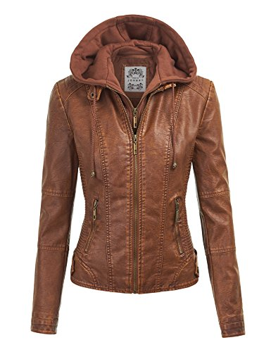 Made By Johnny MBJ WJC1044 Womens Faux Leather Quilted Motorcycle Jacket with Hoodie XXL Camel