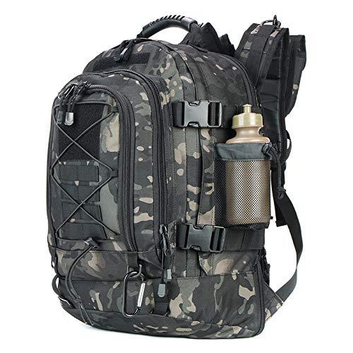 フリーラン 600Dアウトドア リュック 拡張可能64L タクティカル バッグ, 防水耐震 旅行バッグ (ブラックマルチカム)