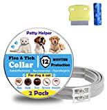 Flea Tick Collar for Dogs Cats(2Pack)-12 Months Continuous Protection(upgraded version)- No allergic & Waterproof & Adjustable Design-100% Natural Essential Oil-Gift Flea Comb&Dog Poop Bags