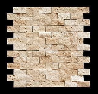 Marble 'n things Light 1 X 2 Split Face Travertine Mosaic Tile