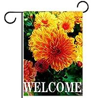 春夏両面フローラルガーデンフラッグウェルカムガーデンフラッグ(28x40in)庭の装飾のため,ようこそ花の花ジニア春夏