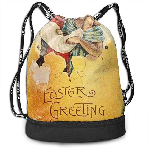 XCNGG Drawstring Backpack,Two Rabbits In The Giant Easter Egg Print Sport Travel Gym Bundle Backpack Bag