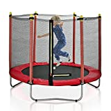 SDGVV 60' Round Outdoor Trampoline,Recreational Trampoline for Kids with Enclosure Net-Combo Bounce Outdoor Trampoline for Family Happy Time -Red