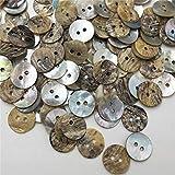 50 botones de costura de concha natural de color japonés, nácar y concha cuadrada PH294, de 9 mm, 12 mm, 13 mm, 15 mm, 18 mm, 20 mm, 12 mm.