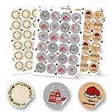 SET 3 x 24 runde weihnachtliche Aufkleber Frohes Fest Verpackung Geschenke rot grün grau schwarz beige blanko natur weiß Weihnachten Etiketten
