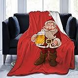 Obo Cute Dwarf Santa Drinks Beer Xmas Cozy Flannel Fluffy Fleece Throw Microfiber Blanket Couch Bed Soft Warm Plush Cozy Quilt Nursery Bedding Decor Bedroom Decorations