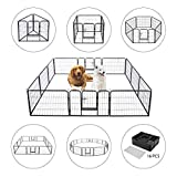 VIVOHOME Heavy Duty Foldable Metal Indoor Outdoor Exercise Pet Fence Barrier Playpen Kennel for Dogs Cats 24 Inch Height 16 Panels
