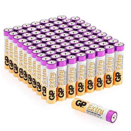 GP Extra Alkaline Batterien AAA Micro 80 Stück Vorratspack, ideal für die Stromversorgung von Geräten des täglichen Bedarfs (Briefkasten-geeignete Verpackung)