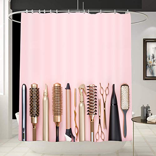 Fashion Decor Makeup /Cosmetic Shower Curtain Liners Professional Hairdresser Accessories Curtains for Washroom /Bathroom Golden Haircut Tools Art with 12 Hooks Gift for Girl,Woman 70 x 70 Inches