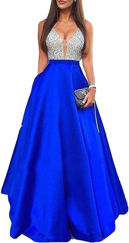 Ikerenwedding Women's Straps Vneck Sleeveless Beaded Sequins Satin Prom Dress