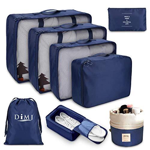 Koffer Organizer Set 8-teilig, kleidertaschen für Kleidung Kosmetik Schuhbeutel Kabel Aufbewahrungstasche, Reisen Organizer Tasche Blau (Navy)