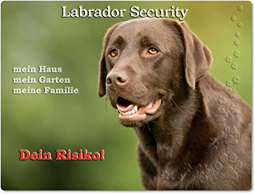 Merchandise for Fans Warnschild - Schild aus Aluminium 20x30cm - Motiv: Labrador Security (02)