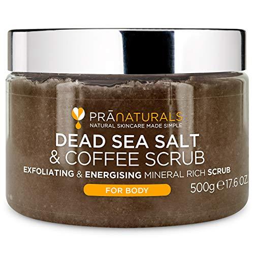 PraNaturals Körperpeeling mit Salz aus dem Toten Meer & Kaffee 500g – Natürliche Formel – exfolierend – pflegend – mit arabischem Kaffeepulver hergestellt – Vegan & frei von Tierversuchen
