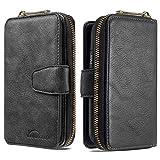 Nadoli Flip Custodia per Samsung Galaxy S10e,Cerniera Wallet Libro Pelle 10 Slot per Schede Portafoglio Cover Caso,Nero