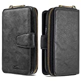 Nadoli for iPhone 11 Wallet Case,Premium Leather Zipper Folio Flip Bag Pocket Cover with 10 Card Slots Shockproof Case,Black