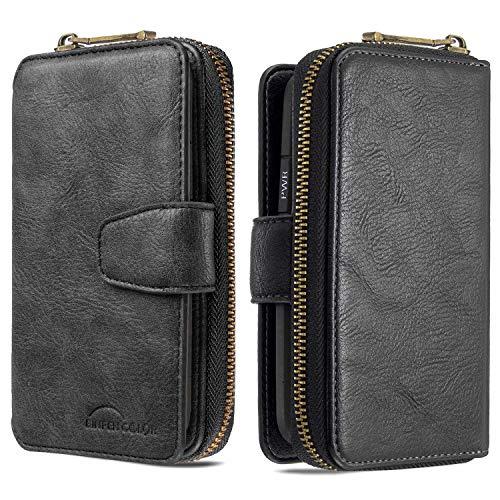Nadoli für Xiaomi Mi Note 10 Hülle Handyhülle,Lederhülle Magnetverschluss 10 Kartenfächern Reißverschluss Brieftasche Flip Wallet Cover,Schwarz