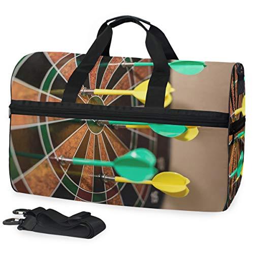 MONTOJ Sportliche Sporttasche mit Dartpfeilen auf Dartscheibe, Einheitsgröße, mit verstellbarem Riemen, Grün und Gelb