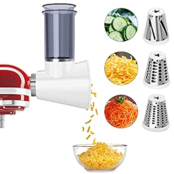Slicer/Shredder Attachment for KitchenAid Stand Mixers,Cheese Grater Attachment Vegetable Slicer Attachment for KitchenAid,Salad Maker White