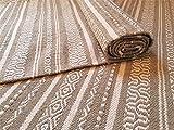 Second Nature Online - Alfombra de algodón con rayas geométricas, tejido a mano, color blanco, mezcla de algodón, beige, 90 x 150 cm