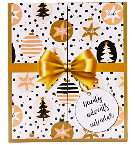 Golden Book Beauty Calendario dell'Avvento con MakeUp, libro con finestrelle da aprire con cosmetici, calendario dell'Avvento per donne