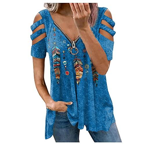 2021 Blusas y Camisas de Manga Larga para Mujer con Cuello en V, Moda Casual Camiseta de Lino de Gran Tamaño Sudadera Verano Camisa con Motivos de Flores Túnica Tops Largos Sueltos