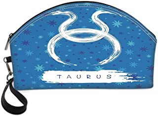 Taurus Small Portable Cosmetic Bag,Brushstroke Featured Astrological Sign Figure Horoscope Celestial Design Decorative For Women,One size