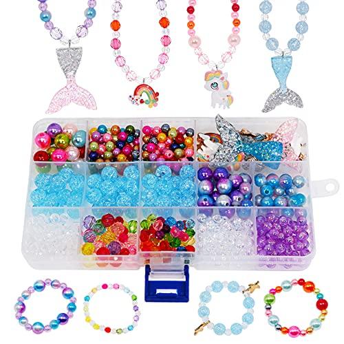 witgift Perlas para enhebrar joyas para niños colgantes coloridos de perlas collar pulsera joyas manualidades para niñas