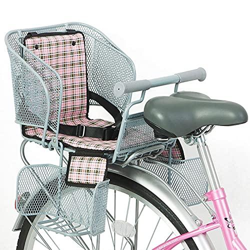 EnweMahi Asiento Trasero Bicicleta Niños con Cinturón Seguridad, Reposapiés, Reposabrazos,Cojín Asiento Trasero Bicicleta,Asiento Niño para Niños 2-5 Años (Menos 120 Cm),Rosado